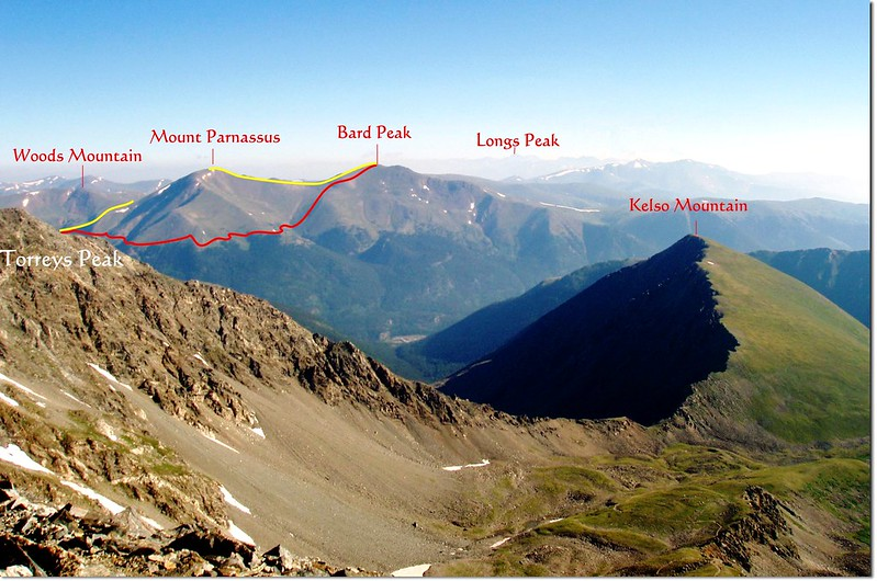 Overlooding Bard, Parnassus route from Grays Peak summit