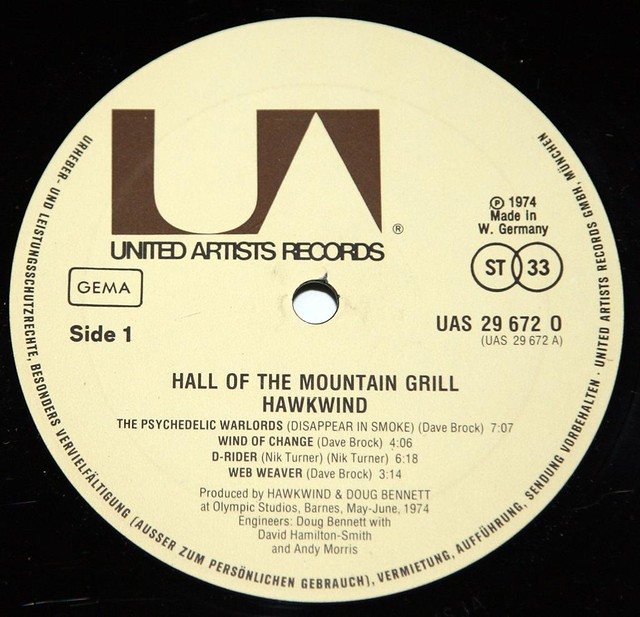 """HAWKWIND HALL OF THE MOUNTAIN GRILL Germany 12"""" VInyl LP"""