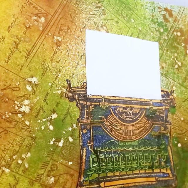 Having fun with LCD and CV stamps #lostcoastdesigns #carmensveranda #rubberstamps #mailartists #mailart #iuoma #typewriter #collageart #art #colorcoordination #rubberstampart
