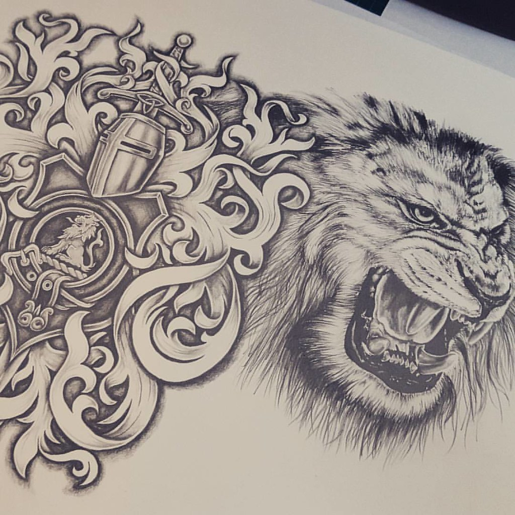 Lion And Coat Of Arms Half Sleeve And Chest Tattoo Design Flickr