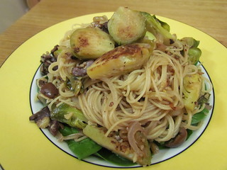 Olive Angel Hair with Seared Brussels Sprouts