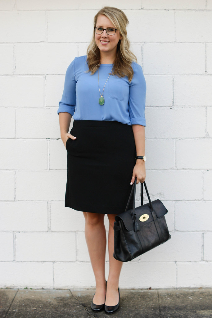 loft pocket blouse with skirt
