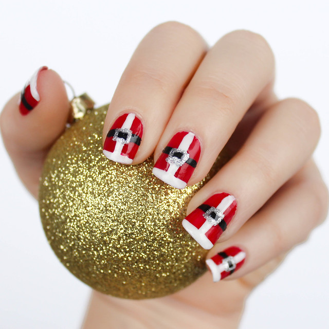 Santa Suit Christmas Nails