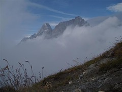 Early morning mist as we climb towards the Grand Col Ferret 2537m Image