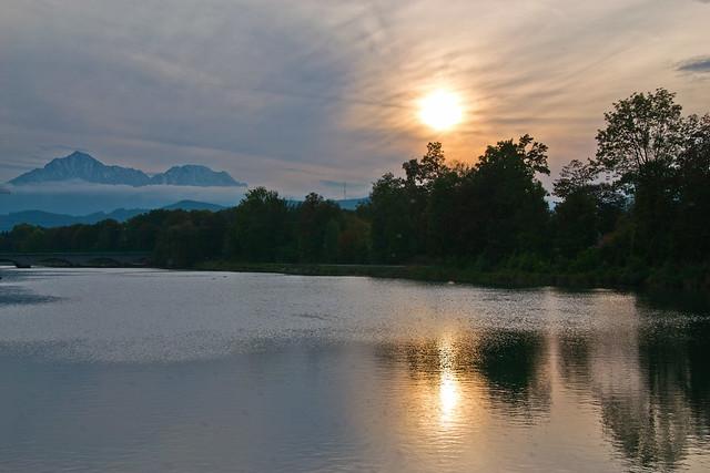 Sunset at the Saalach river