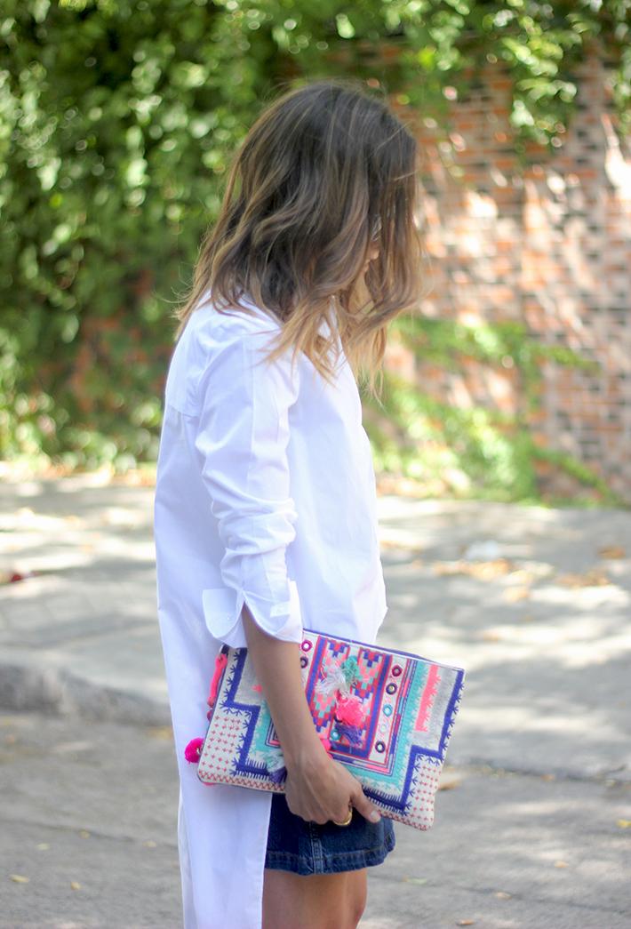 Long Shirt With Denim Skirt Summer Outfit 20