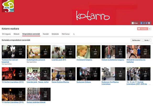 Kotarro youtube: erreprodukzio zerrendak
