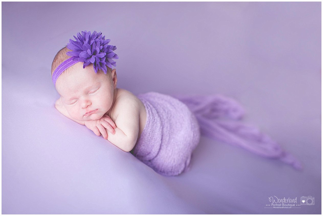 Baby Wrapped Purple Newborn Pose Ideas