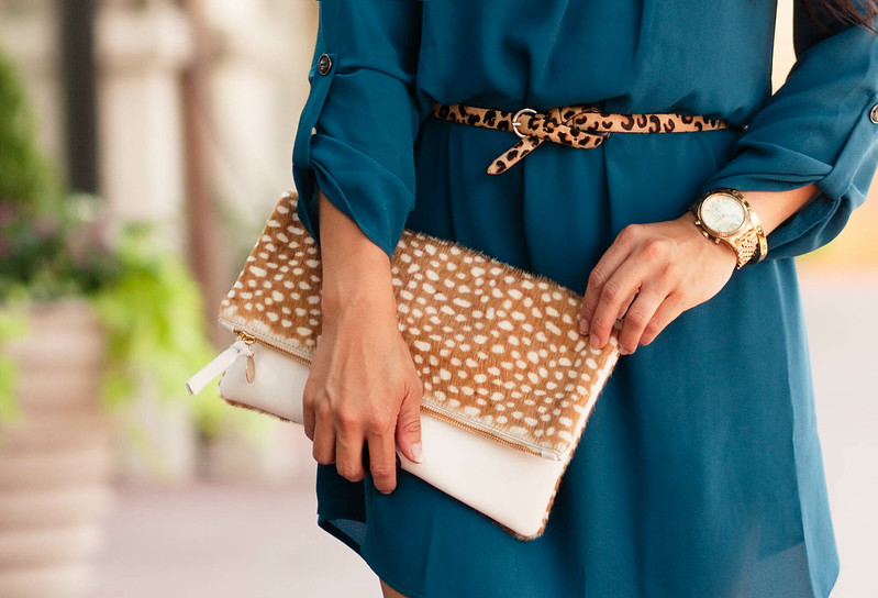 cute & little blog | teal shift dress, leopard belt, clare v leopard haircalf foldover clutch | fall outfit