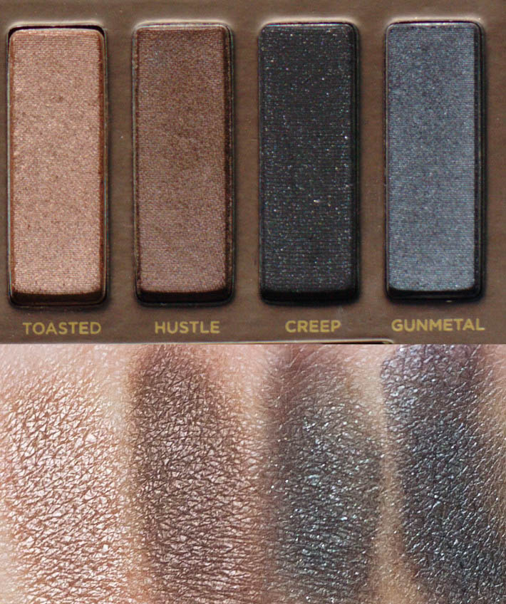 Naked original swatches: Toasted, Hustle, Creep and Gunmetal