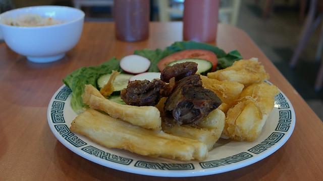 Yuca frita con chicharron El Buen Sabor Latino in Des Moines Iowa