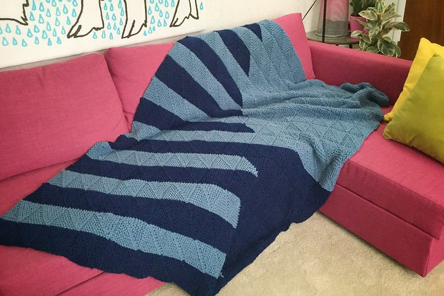 Mitered Square Knit Blanket