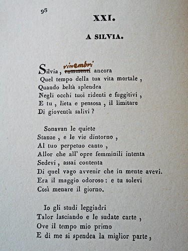 """A Silvia"" by Giacomo Leopardi (Starita publishing, Naples 1835) with autograph corrections by poet (1835-1837) - Original book: National Library of Naples - This photographic copy: my property"
