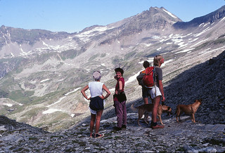 Hikers and dogs in Austrian Alps, 1980