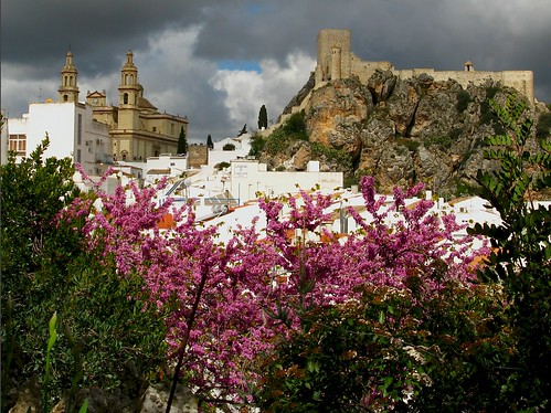 Olvera, Spain - storm clouds above the town
