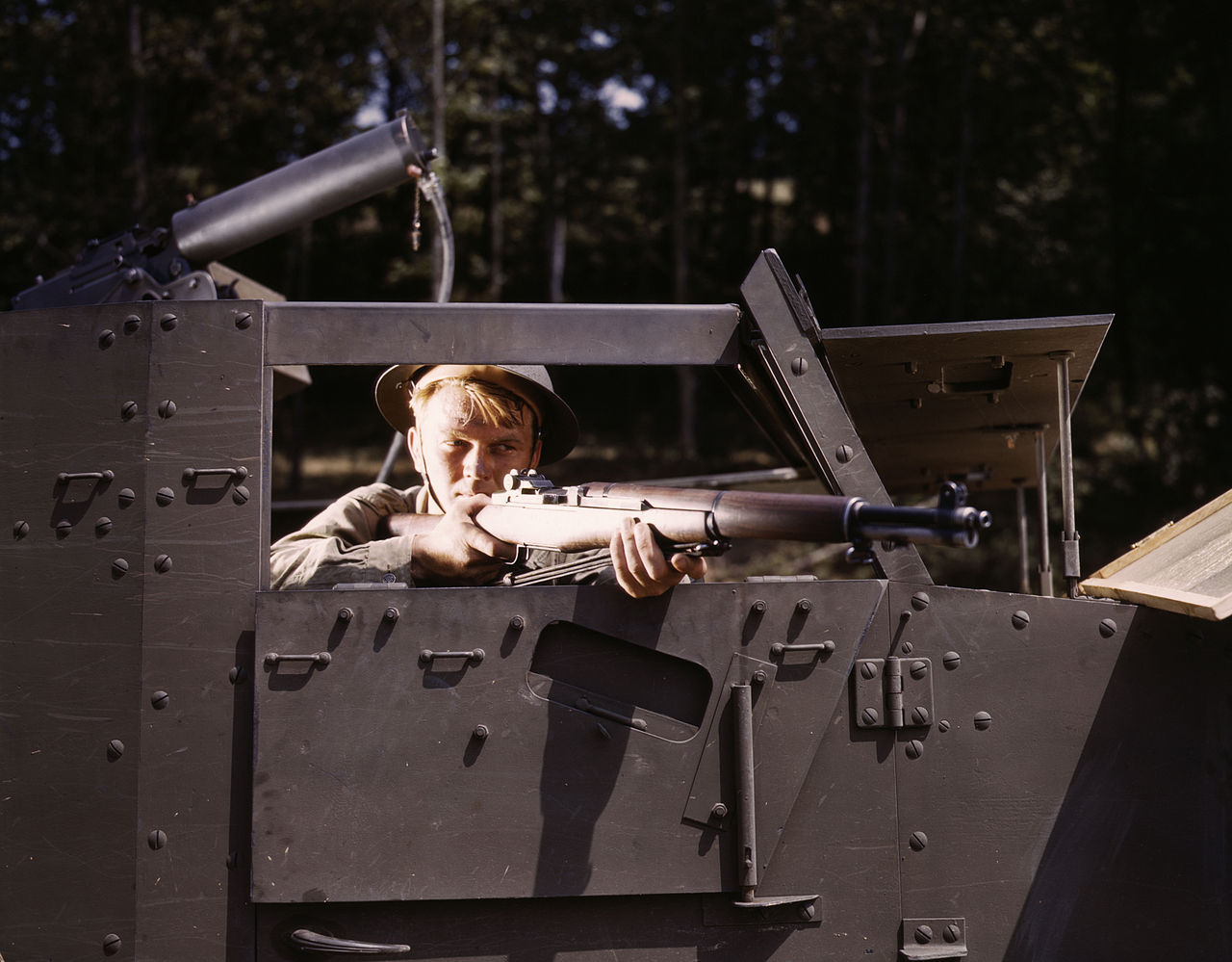 Halftrack infantryman with Garand rifle, Ft. Knox, KY, 1942