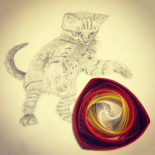 Cat Pencil Drawing with Quilled Vortex Coil
