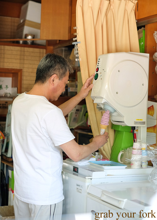 Making a grape soft serve on Miyajima Island