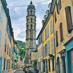 Tour des Jacobins, a 35-meter tall Gothic style Clock Tower of Bagnères-de-Bigorre, is probably the only remnant from the 1300s left in the city.  #France #travelfrance #pyrenees #hautespyrenees #euro_shot #instagood #instalike #instatravel #igs_europe #p