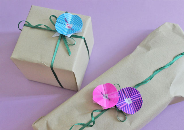 washi tape flower gift wrap