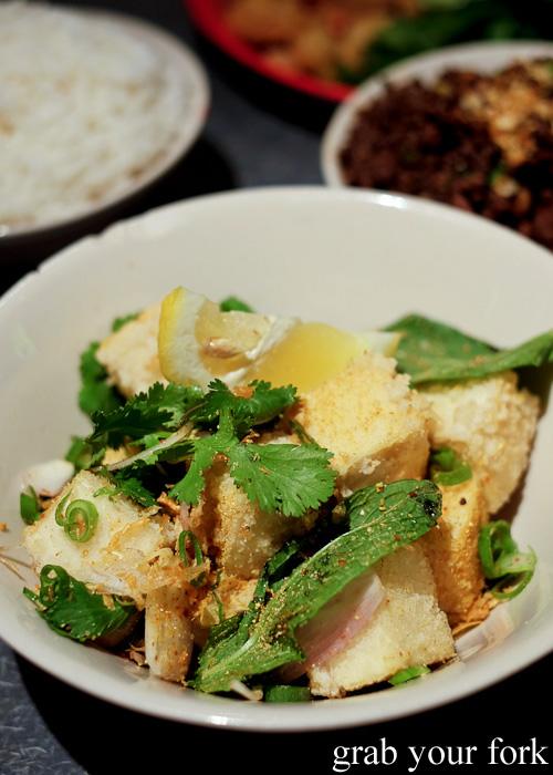 Larb tofu tord crispy tofu with larb spice salt at Chung Tang, Chatswood