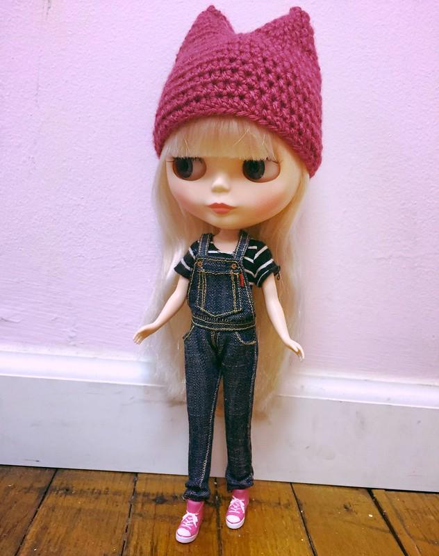 Crocheted cat/devil hat