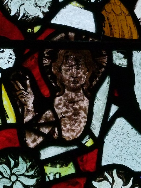 Brightling, Sussex, St Thomas a Becket, medieval glass, Christ