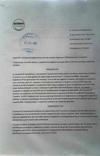 Casamassima- Le proposte del Movimento 5 Stelle-efficientamento energetico