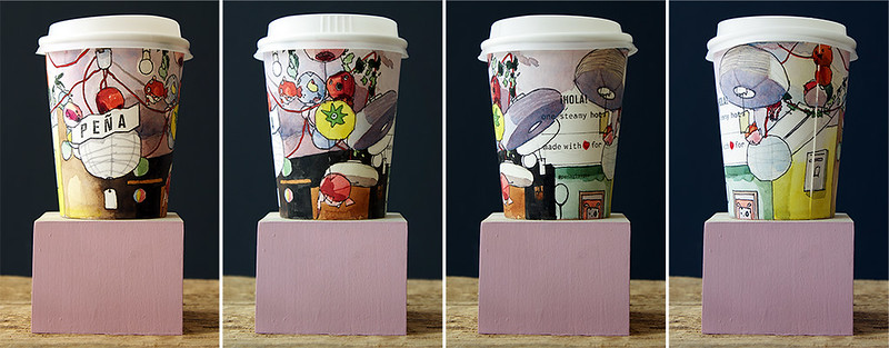 Peńa illustrated paper cup