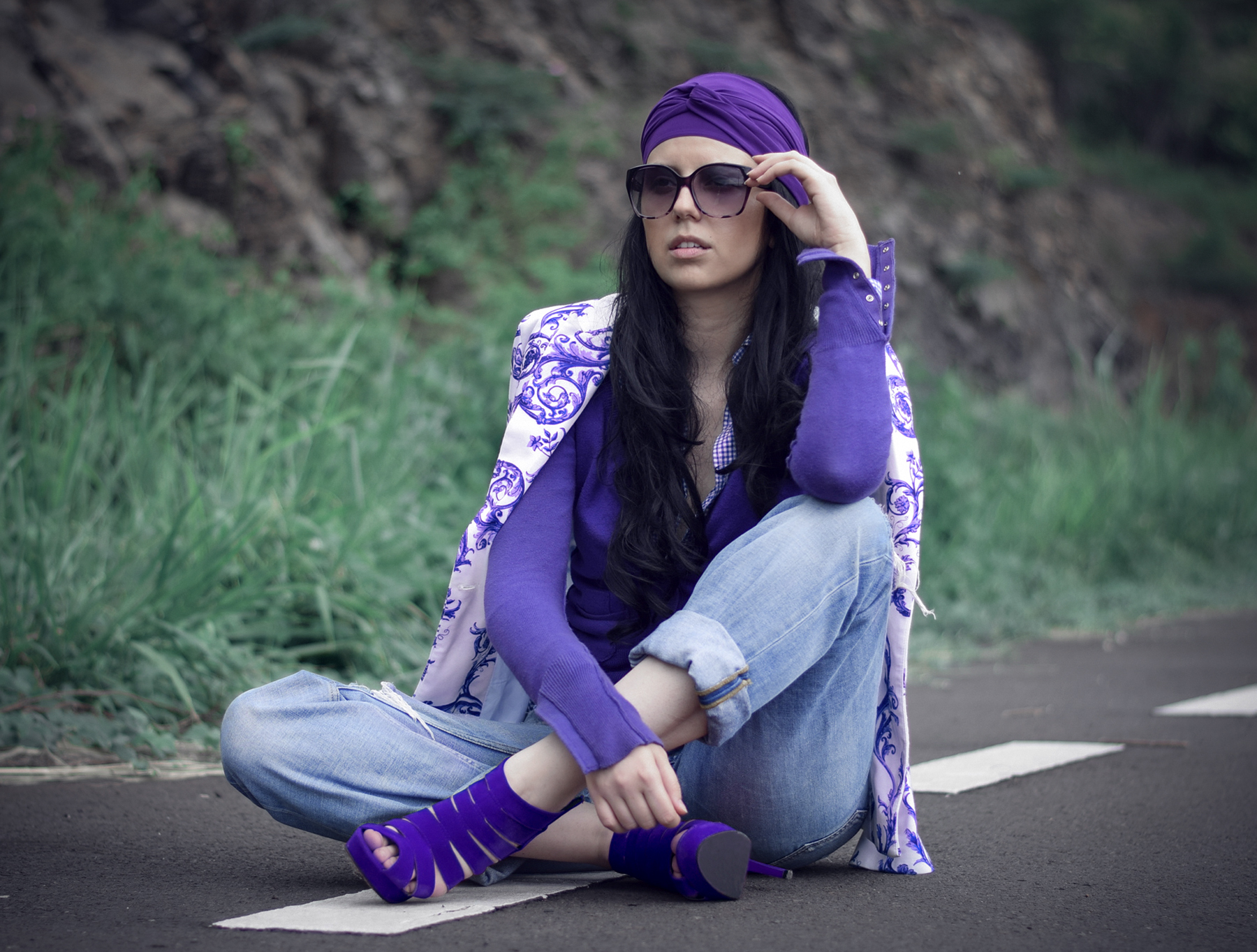 one color look purple blogger