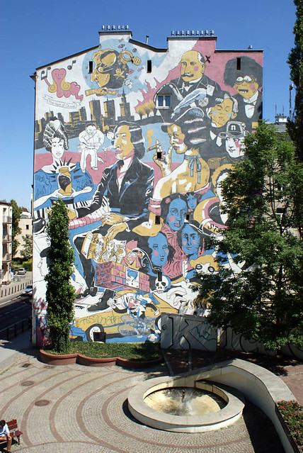 Street art avec Chopin, Sand et des personnages de comics polonais (Mikropolis...)
