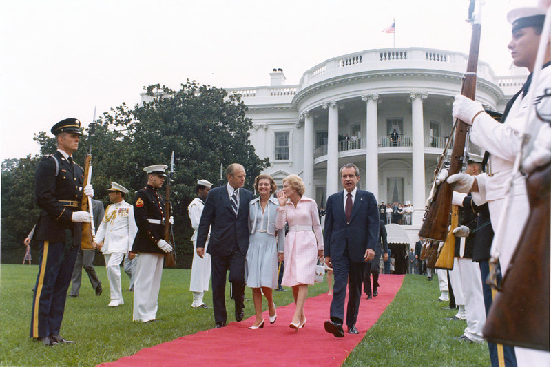 Gerald and Betty Ford escort Richard Nixon departing the White House after resigning