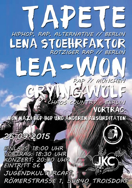 26.09.2015 TROISDORF | TAPETE, LENA, WÖLF, LEA-WON - LIVE | @ Jugendkulturcafé |