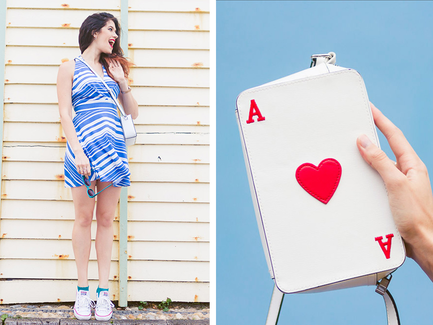 ace of hearts novelty bag blue and red
