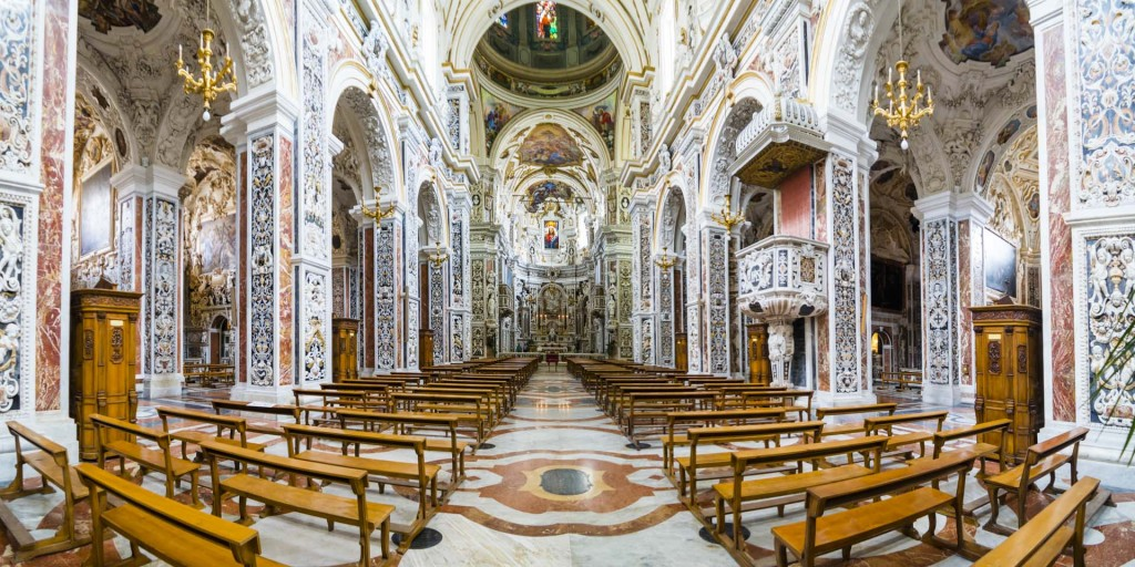 Palermo, panoramic photo of the interior of The Church of Saint Mary of Gesu (aka Chiesa del Gesu or Casa Professa), Palermo, Sicily, Italy, Europe