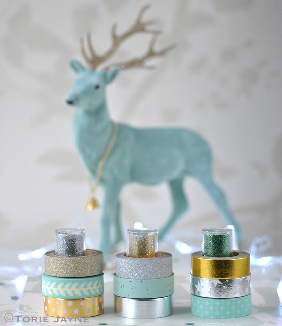 Washi tape in gold, silver & mint