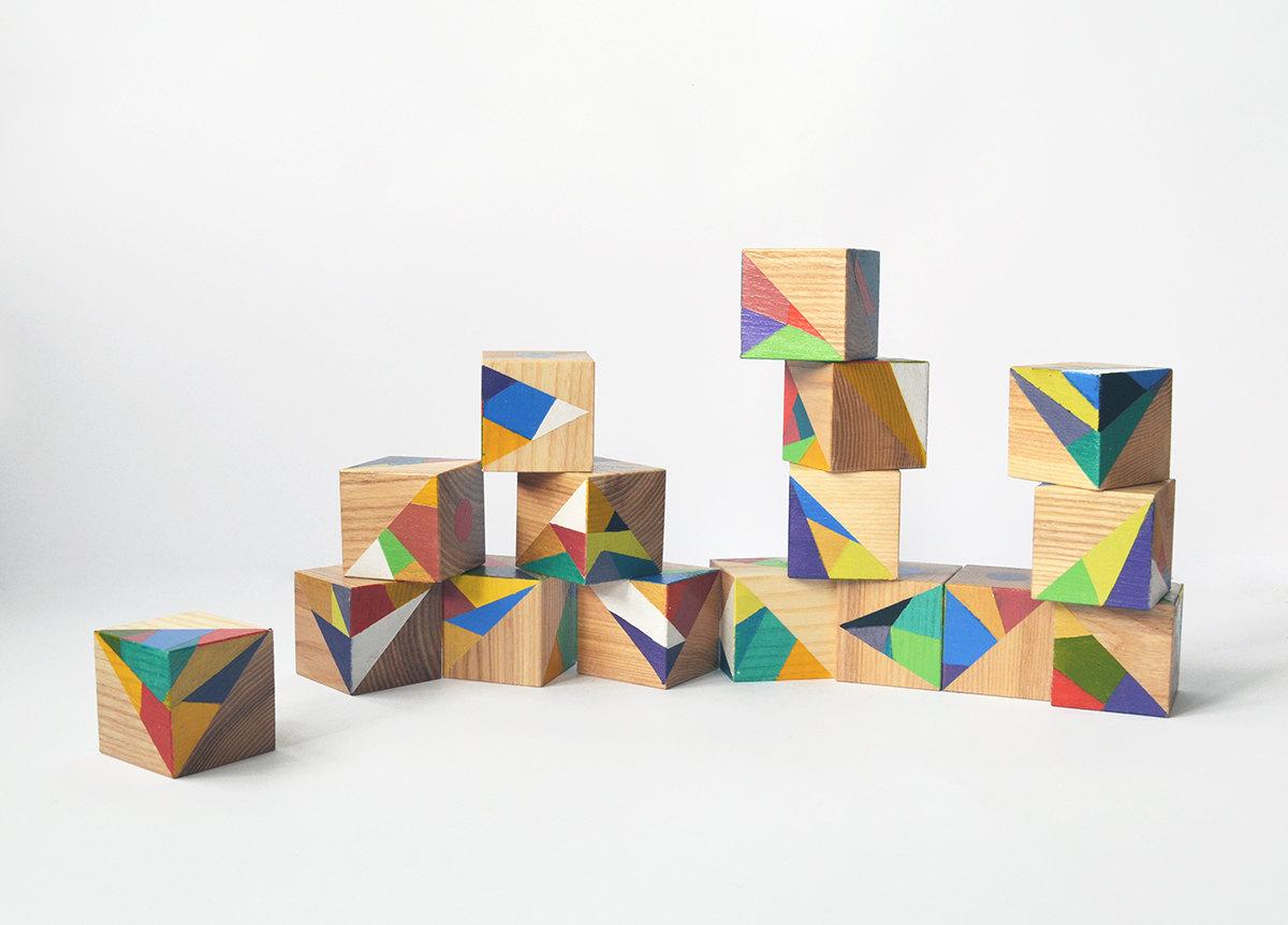 handpainted wooden blocks