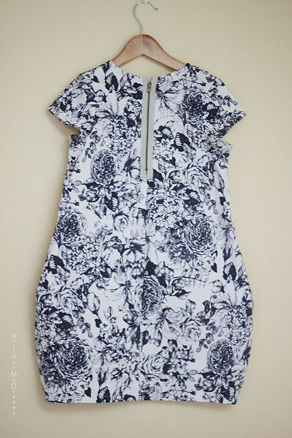 Cocoon Dress. Blue Roses