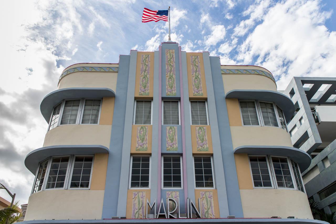 El Hotel Marlin es un icono arquitectónico de South Beach con su diseño Art Deco. Fue construido en 1939 y alberga un estudio de grabación por donde pasaron figuras de la talla de Bob Marley, Jay Z, U2, Aerosmith y Pharrell Williams. (Tetsu Espósito)