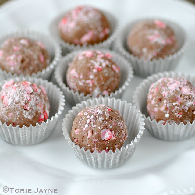 handmade peppermint chocolate truffles