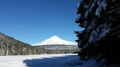 Mount Hood from a frozen over Trillium Lake
