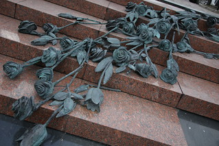 53 roses, one for each of the fallen after a sudden storm hit a nearby beer festival forcing 2,500 people to seek shelter in the Nemiga metro station and causing a crush