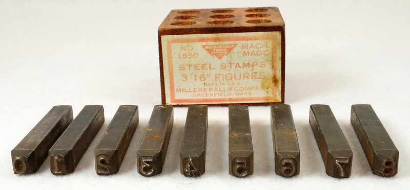 RD14695 Millers Falls 3-16th inch Figures Steel Number Punch Stamps Set No 1550 USA DSC06517