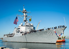 USS Spruance (DDG 111) approaches the pier at Naval Base San Diego, Nov. 14. (U.S. Navy/PO3 Chelsea D. Daily)