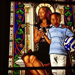 "I'm so happy I'm able to see Kehinde Wiley's new piece, ""Lamentation"" at the Petit Palais in #Paris in person. It's a beautiful and moving series, to see your tone in stained glass. It's open until January 25th and free to the public. Go see it if you can"