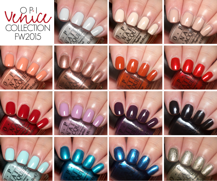 OPI Venice Collection Swatches Collage
