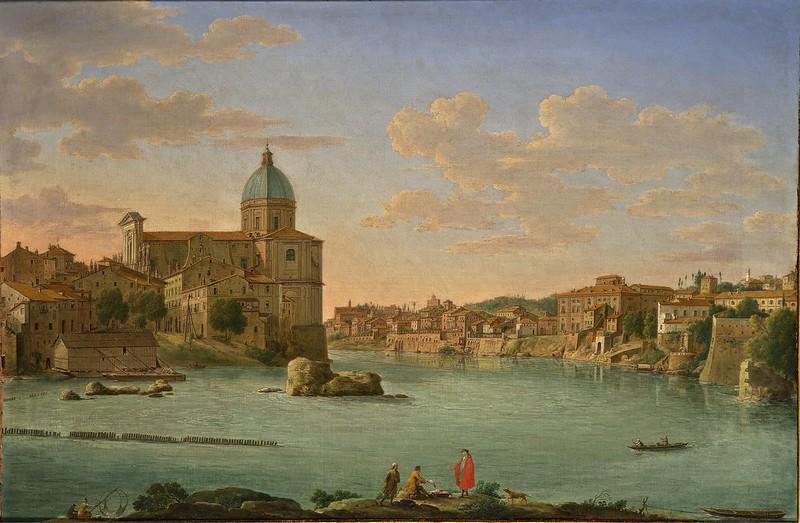 Hendrik Frans van Lint - Rome, A View of San Giovanni dei Fiorentini (1739)