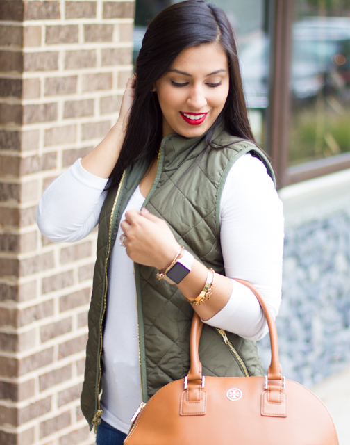 Tory Burch Robinson Dome Satchel, Clarks by Indigo Boots, Fall Boots, Ripped Jeans, Hollister Jeans, Hunter Green Vest