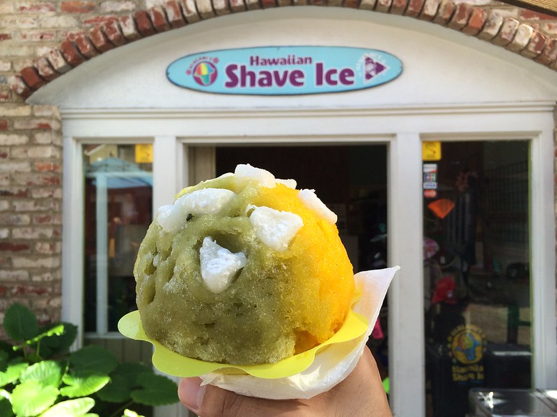 Green tea/mange shave ice with mochi and azuki beans