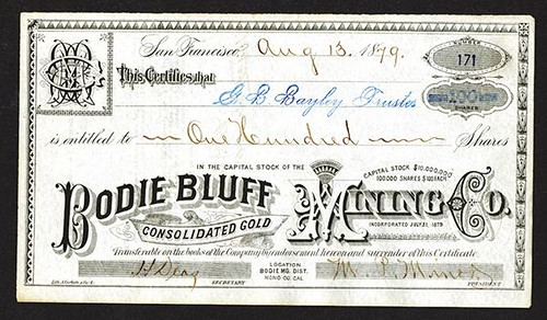 Bodie Bluff Consolidated Gold Mining Co stock certificate
